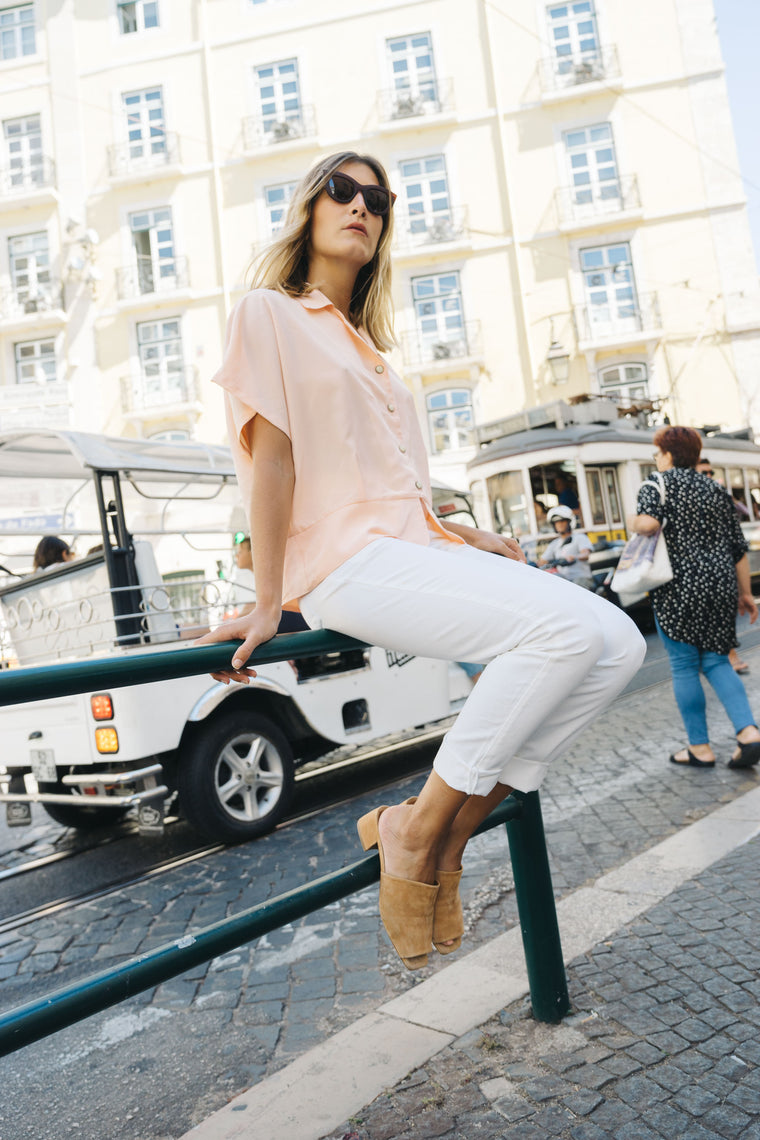 Silky Peach Button Up Blouse