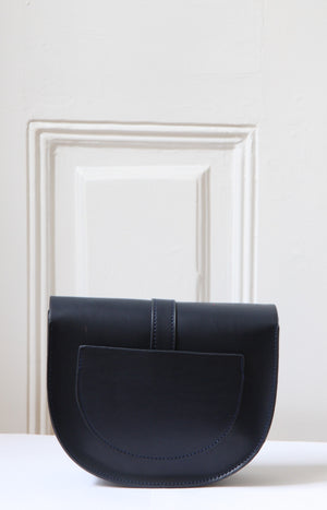 Lou Navy Leather Satchel