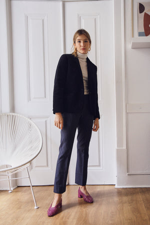 Navy Pinstriped Tailored Trousers