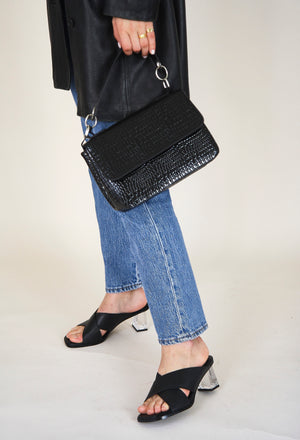 Dally Croco Black Handbag