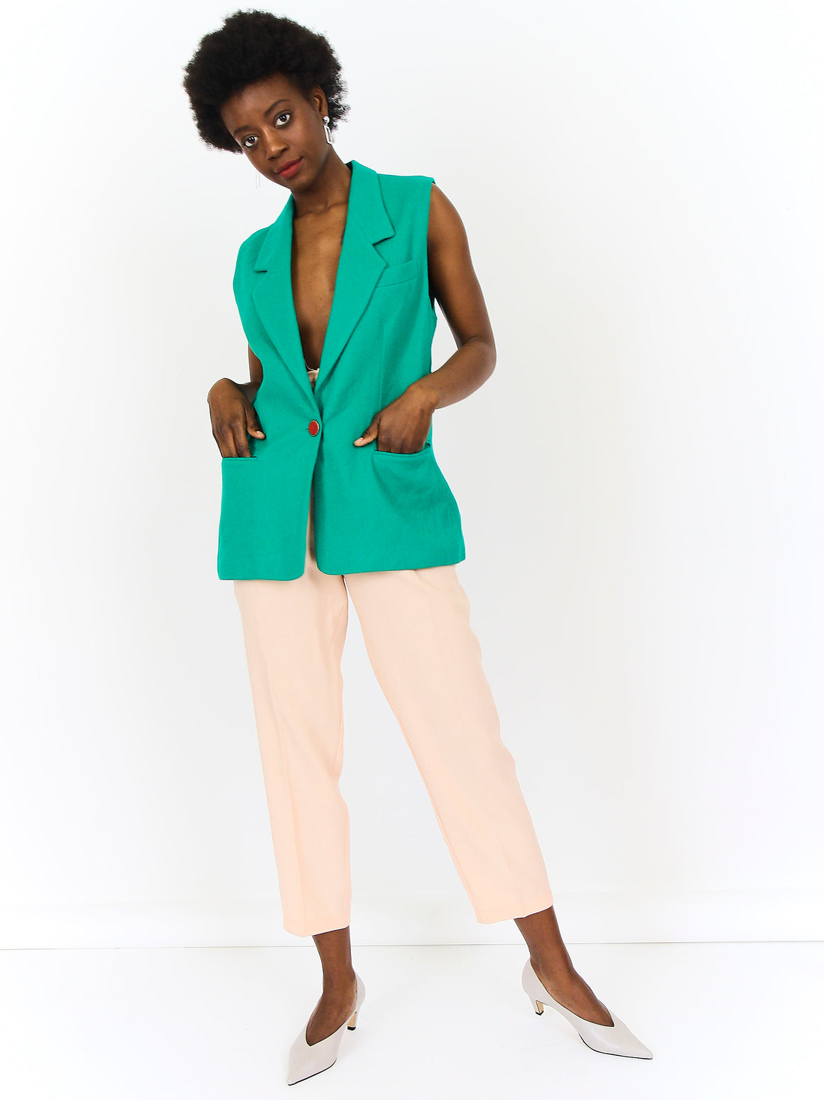 Longline Sleeveless Green Blazer