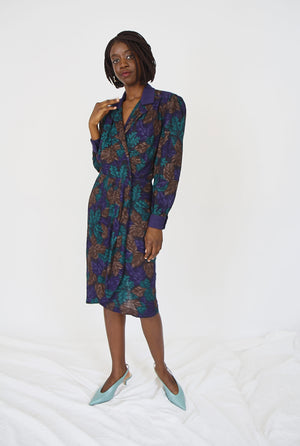 Teal and Blue Leaf Print Wrap Dress