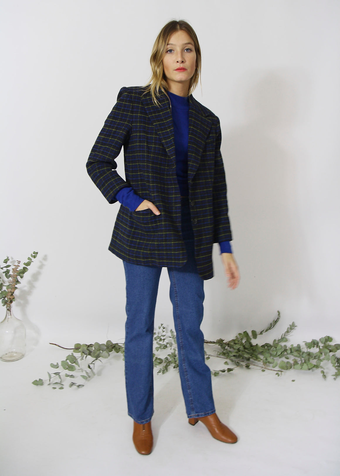 Checked Wool Oversized Blazer