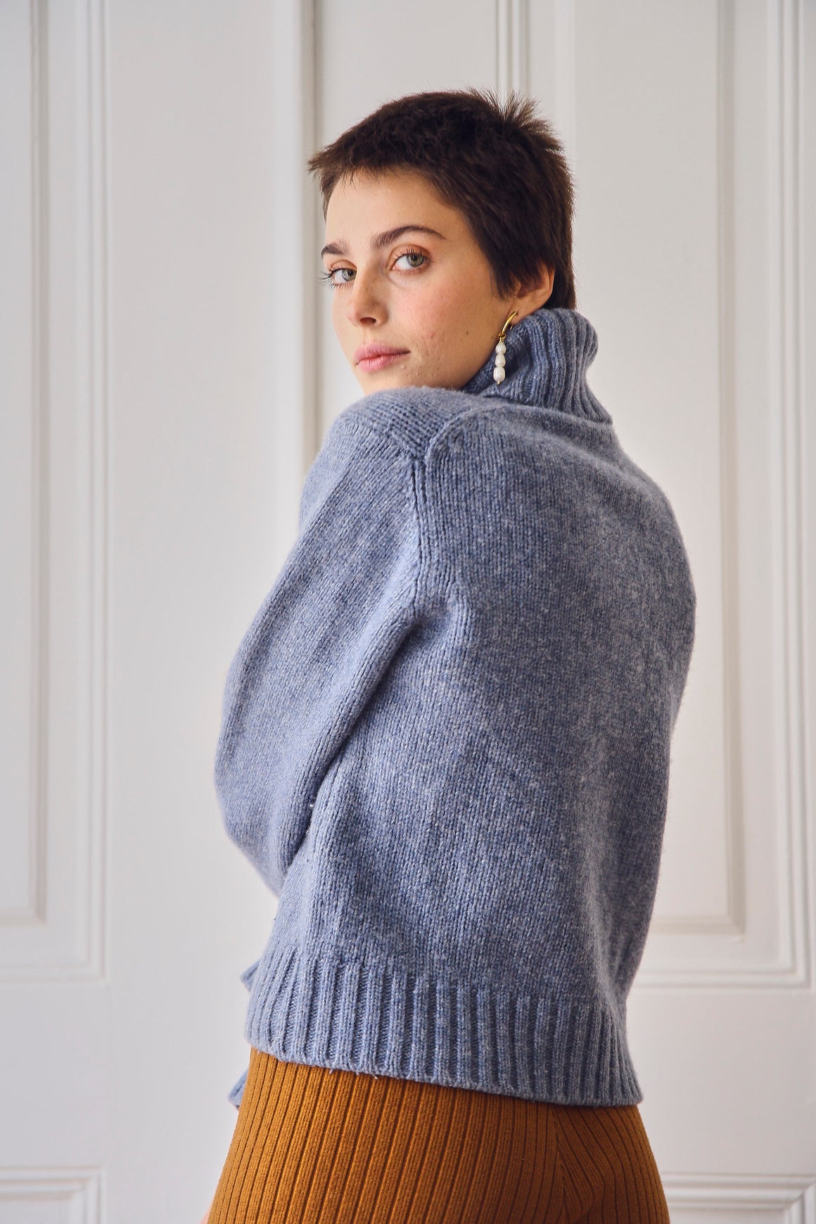 Pale Blue Wool Turtleneck