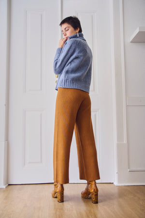 Wide Leg Toffee Knit Trousers