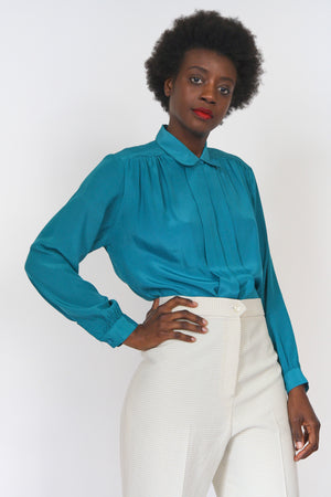 Teal Silky Button Up Blouse