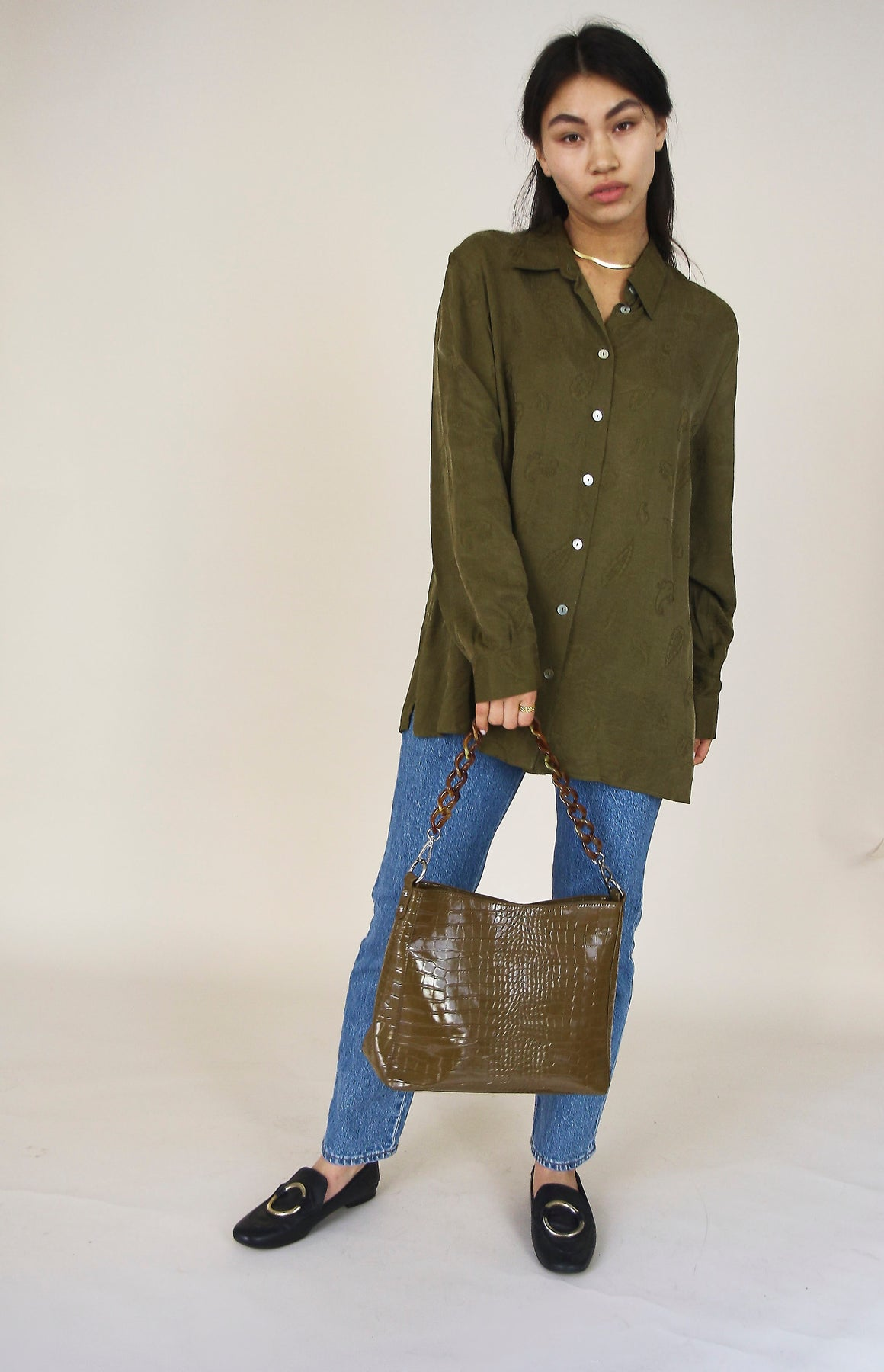 Amble Croco Olive Handbag