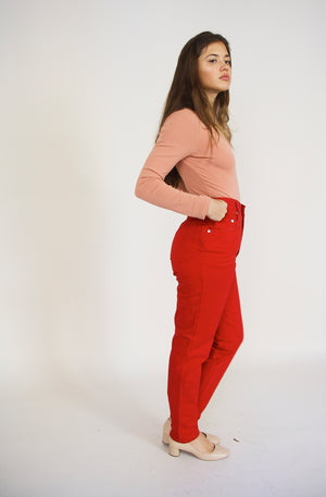 Red Straight Cotton Trousers