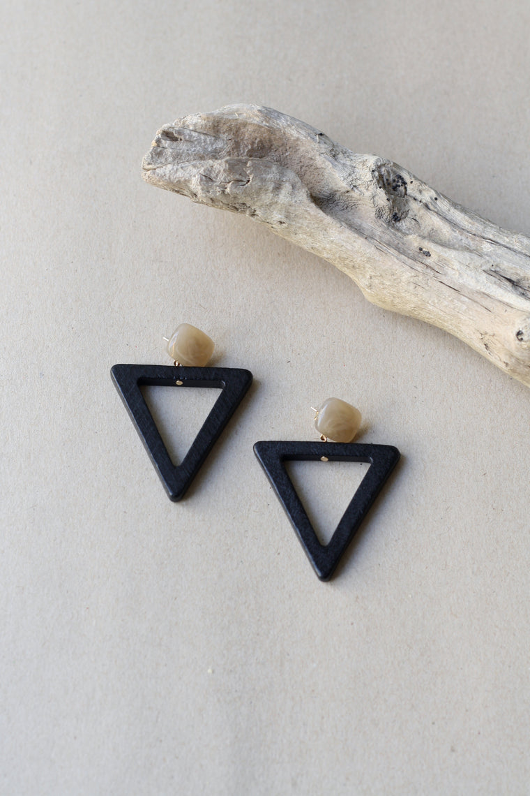 Wooden Black Triangle Earrings