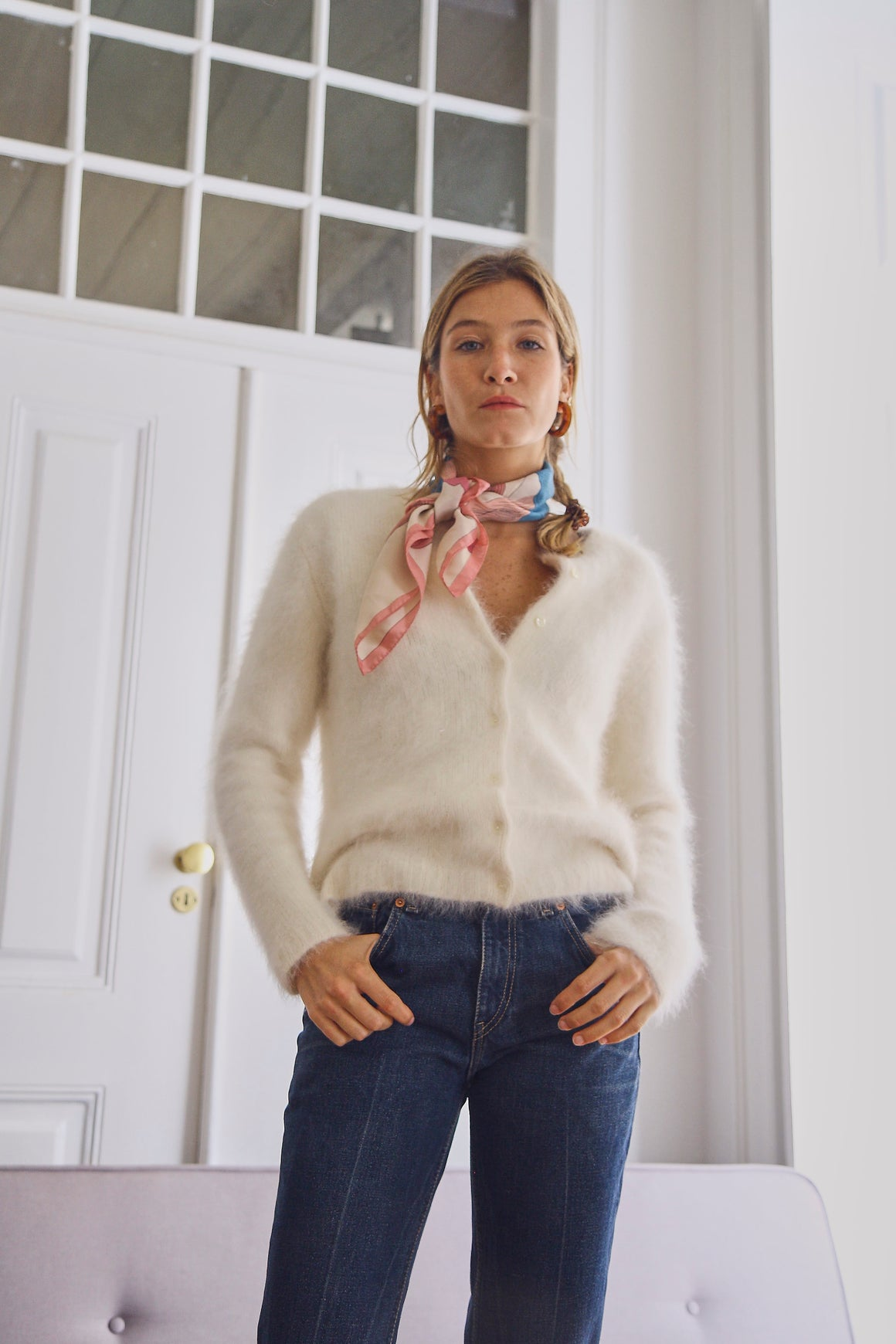 Soft Cream Angora Cardigan
