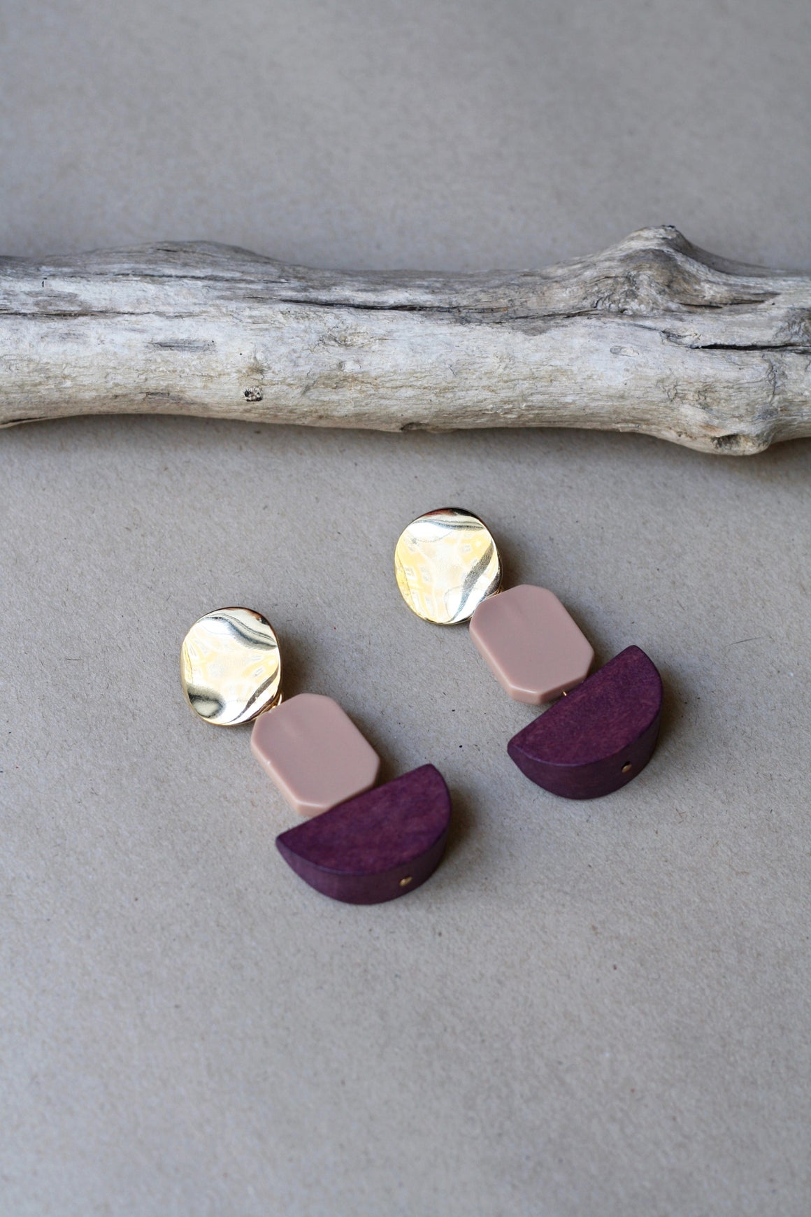 Gold And Pink Pendant Earrings