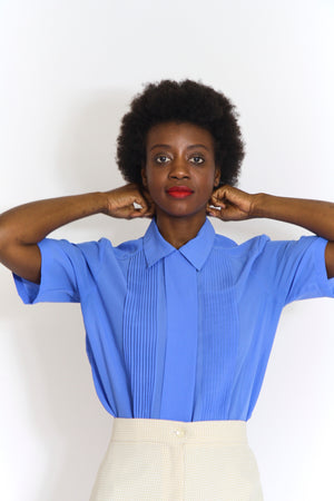 Blue Silky Button Up Blouse
