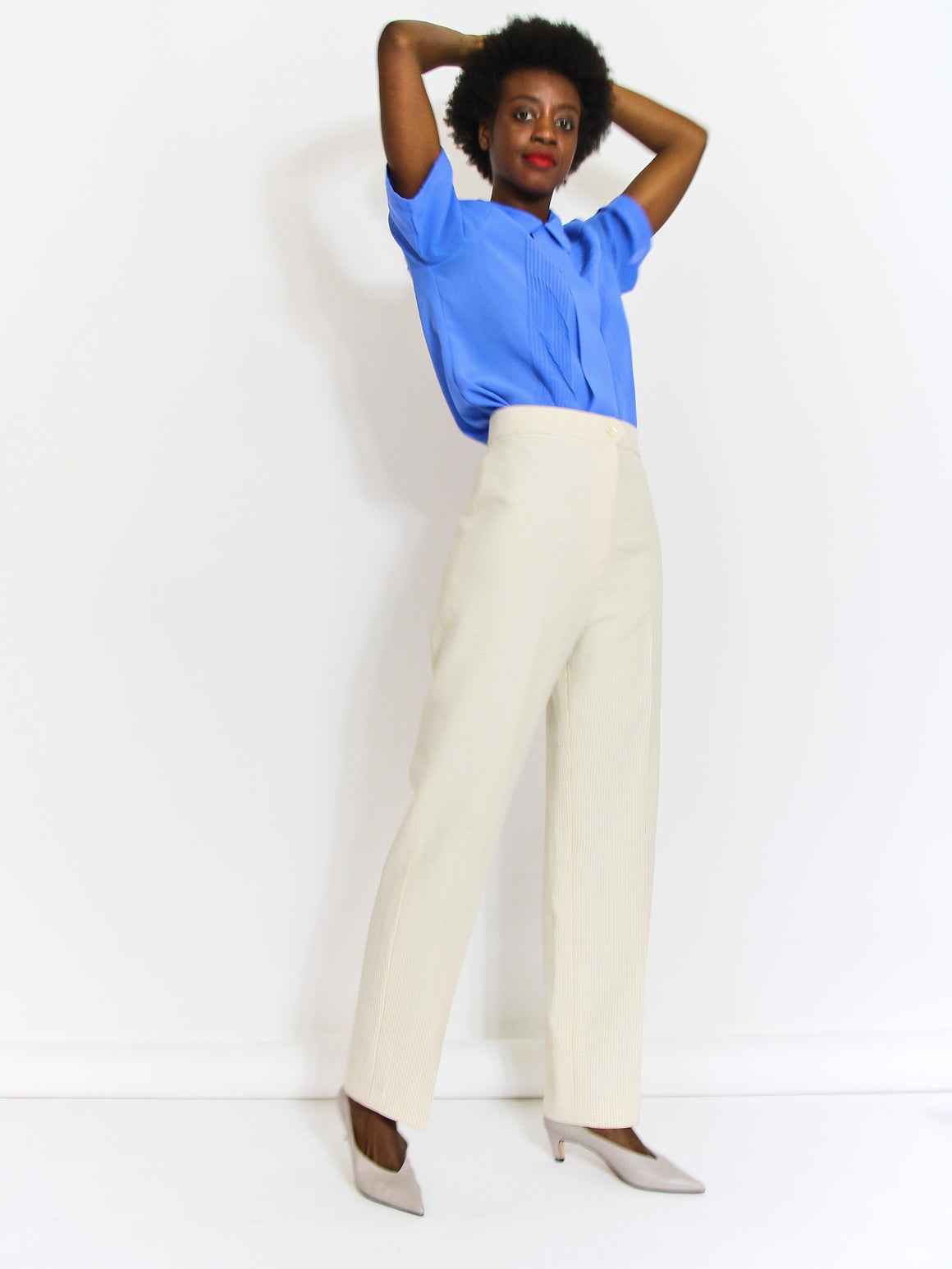 70s Checked High Waist Trousers