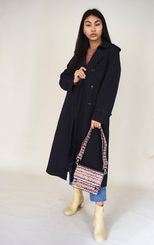 Vintage Navy Classic Trench Coat