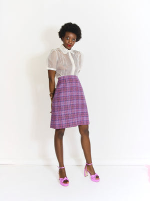 Pink and Lilac Checked Pencil Skirt