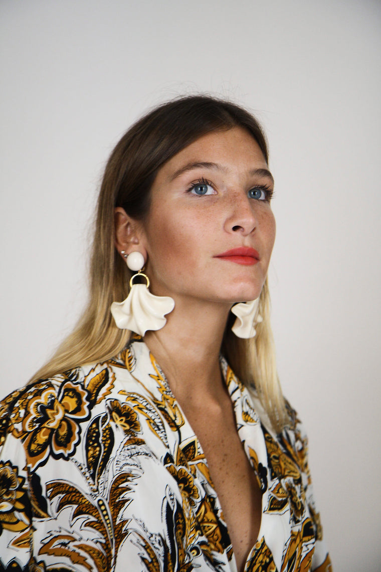 Cream Amelia Earrings
