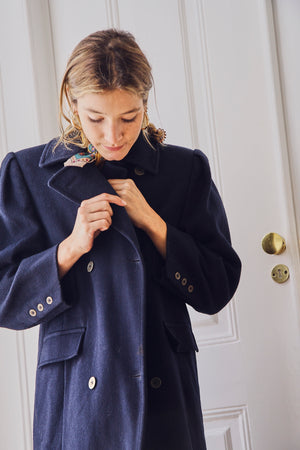 Wool Mix Navy Coat