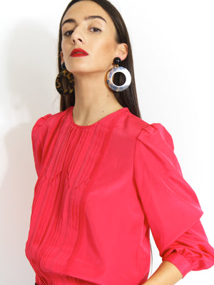 80s Fuchsia Micro Pleat Detail Blouse