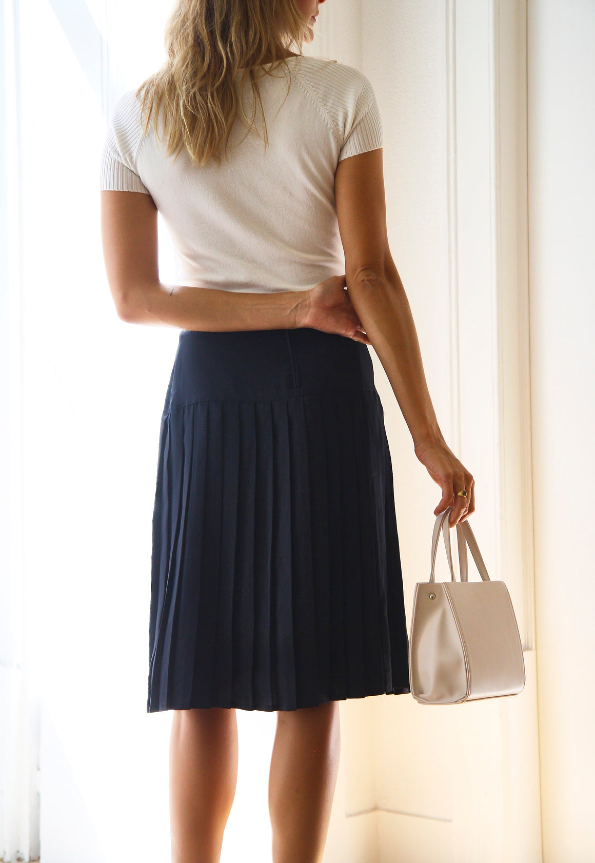 Elegant Navy Pleated Skirt