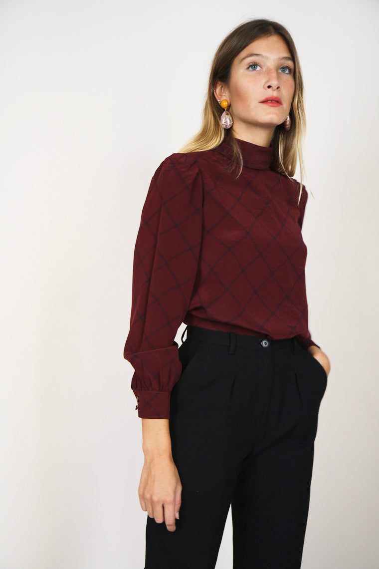 Burgundy Printed Silky Blouse
