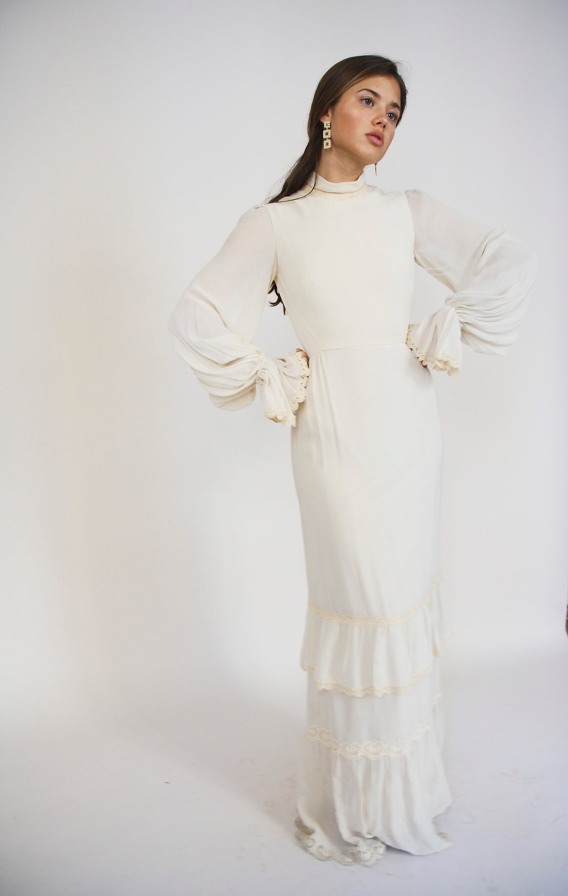 60s Cream Crepe Victorian Dress