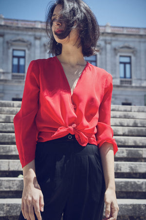 Red Sheer Chiffon Blouse