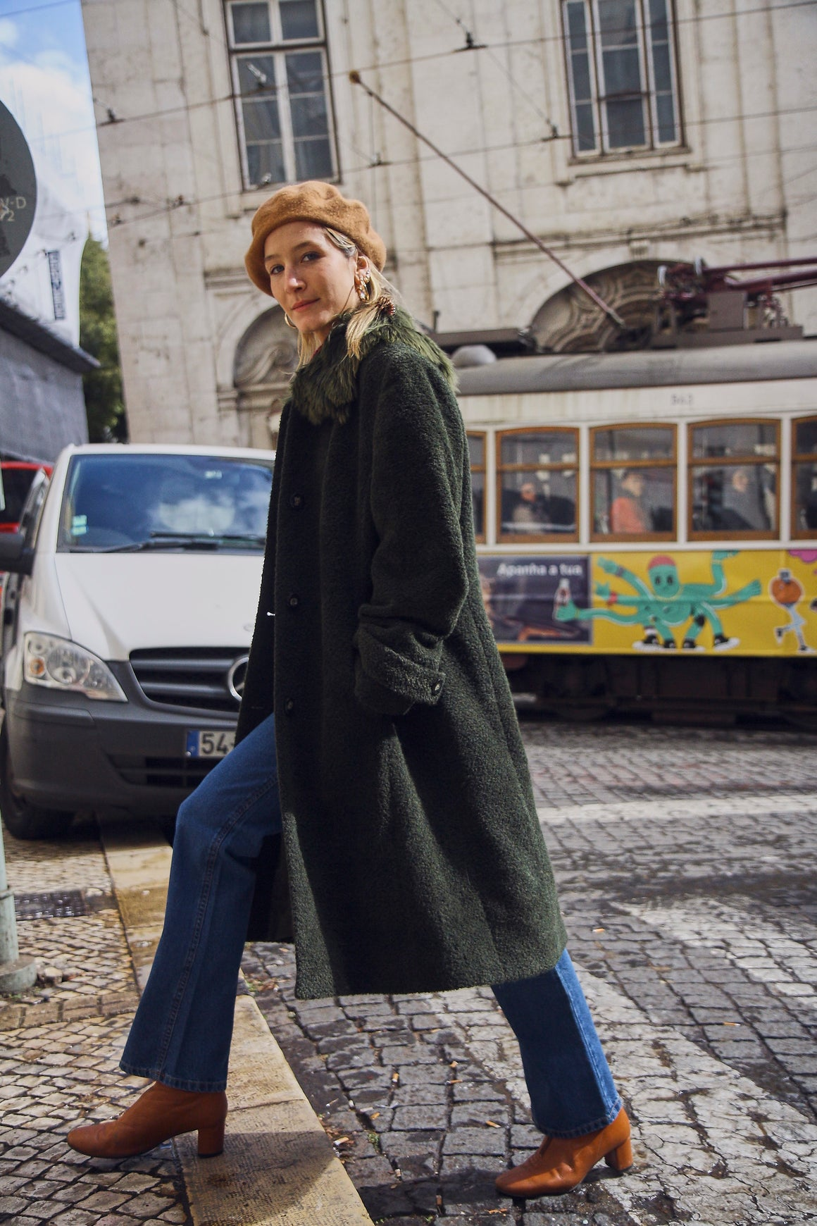 Deep Olive Green Wool Coat