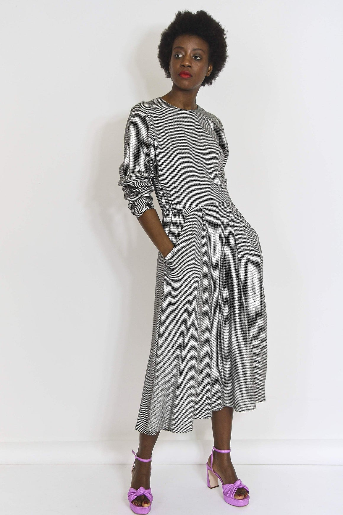 Monochrome Mid-Length Swing Dress