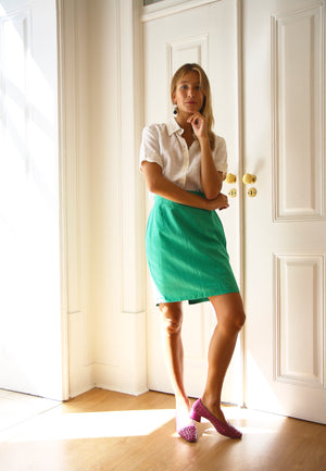 Linen Minty Pencil Skirt