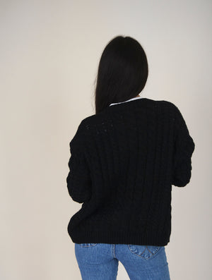 Maena Black Chunky Knit Cardigan