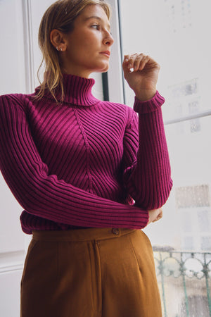 Aubergine Ribbed Turtle Neck