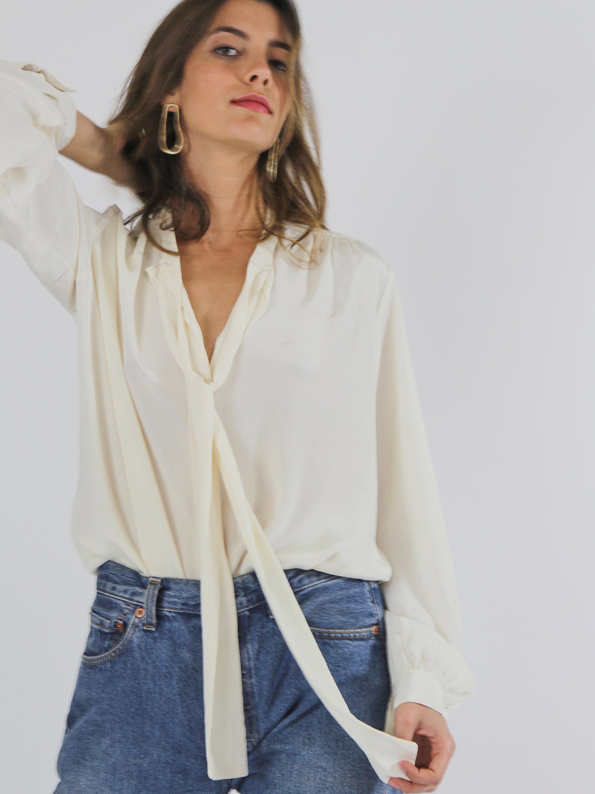 Cream Silky Button Up Blouse