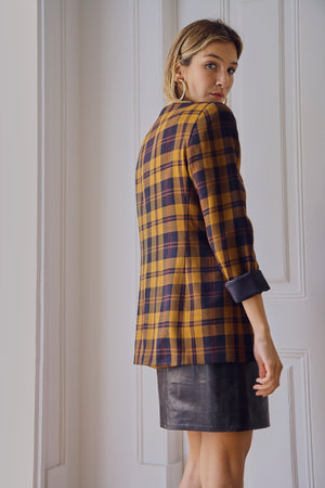 Navy and Rust Checked Blazer