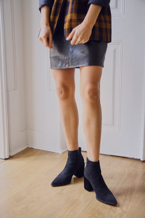 Black Textured Heel Boots