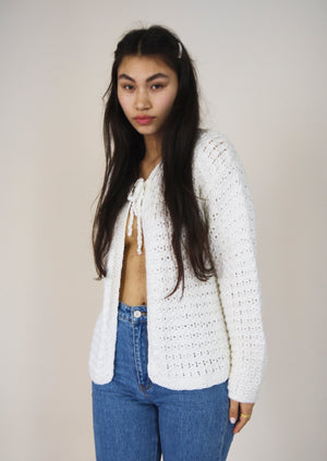 White Hand Knitted Tie Front Cardigan