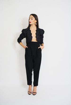 High waisted Tuxedo Tapered Trousers