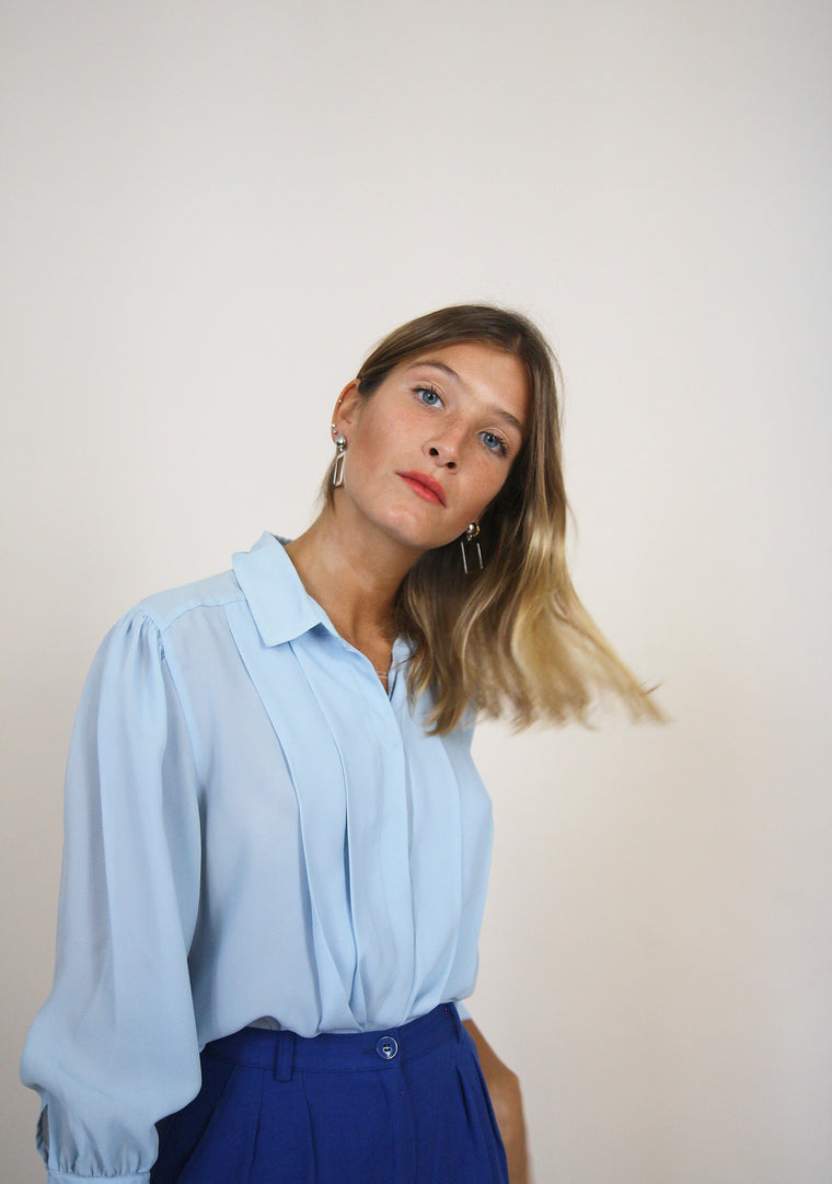80's Blue Button Up Blouse