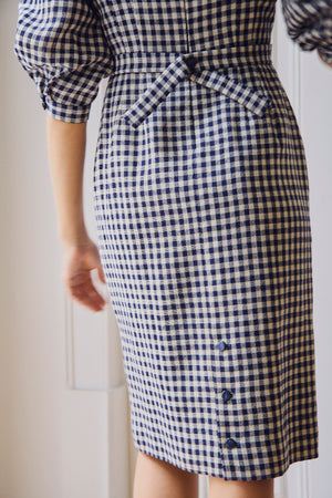 Vintage Navy and Cream Checked 60s Dress