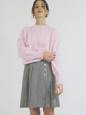 Gingham Pleated Wool Skirt