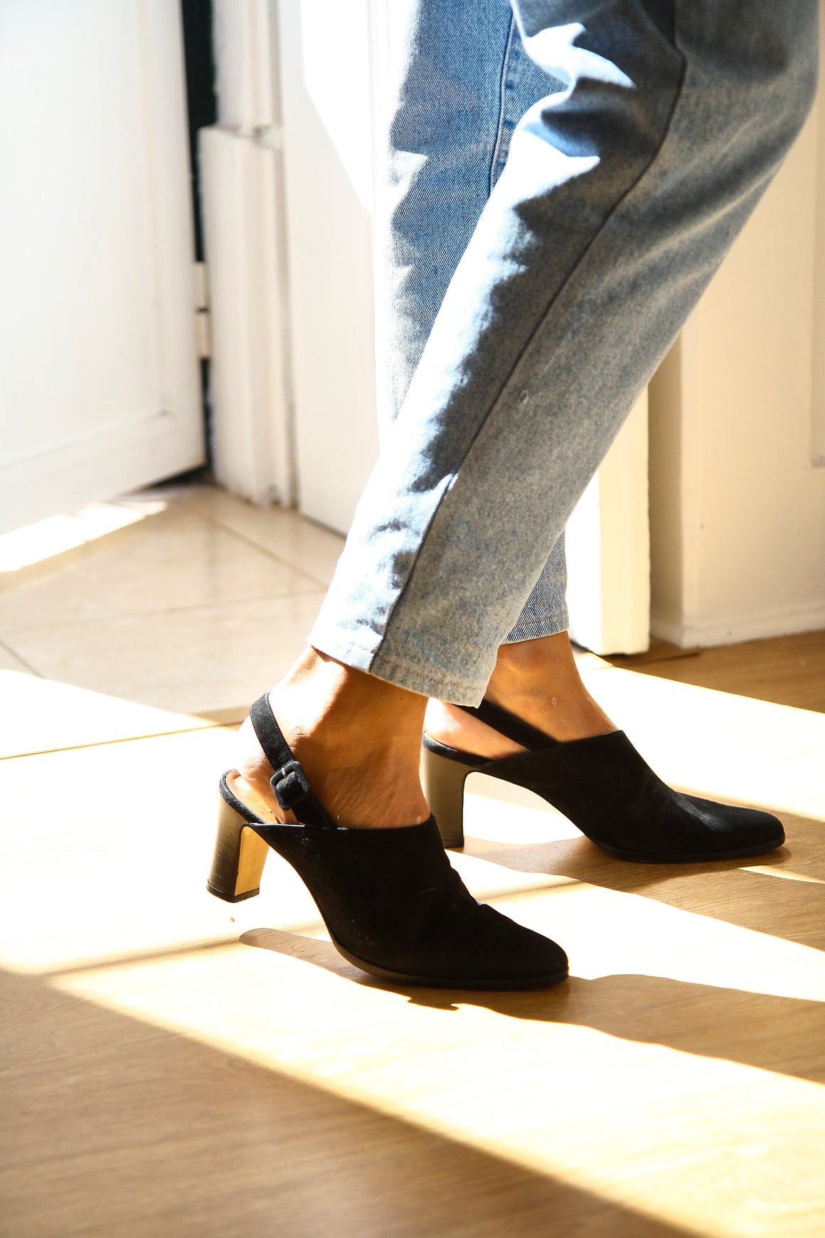 90s Black Leather Suede Mules