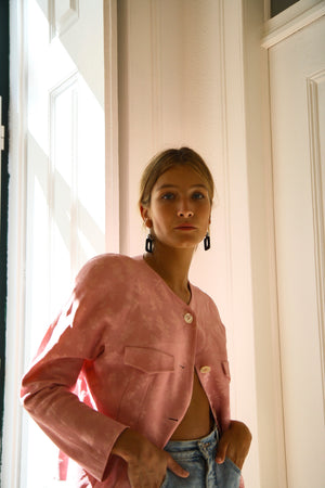 Pale Pink Round Neck Jacket