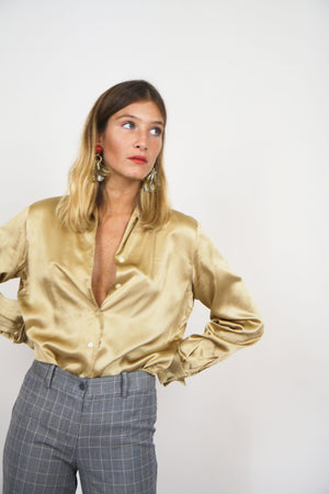 90s Gold Silk Button Up Blouse