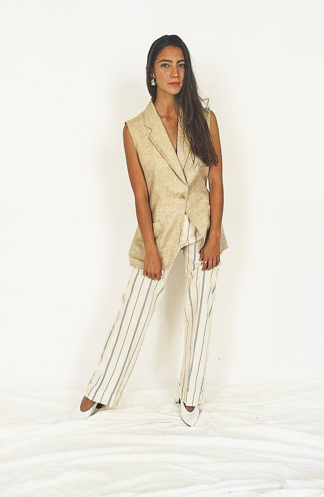 Linen Pinstriped High Waisted Trousers