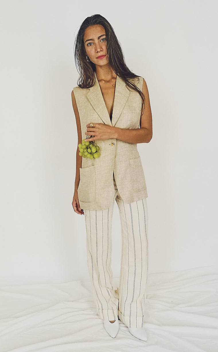 Linen High Waisted Trousers