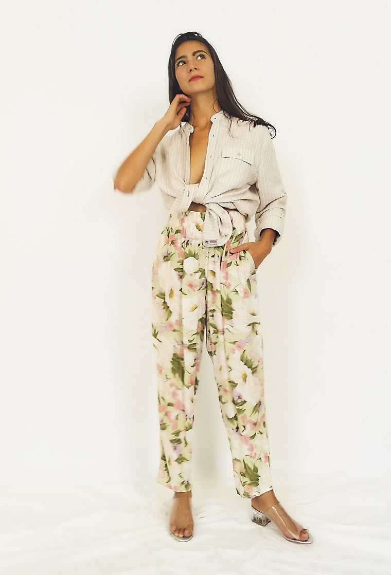 Pretty Floral Print Cotton Trousers
