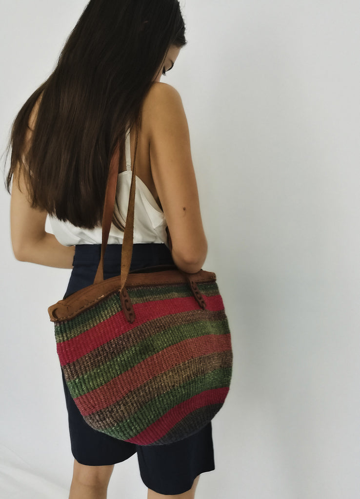 Woven Striped Basket Bag