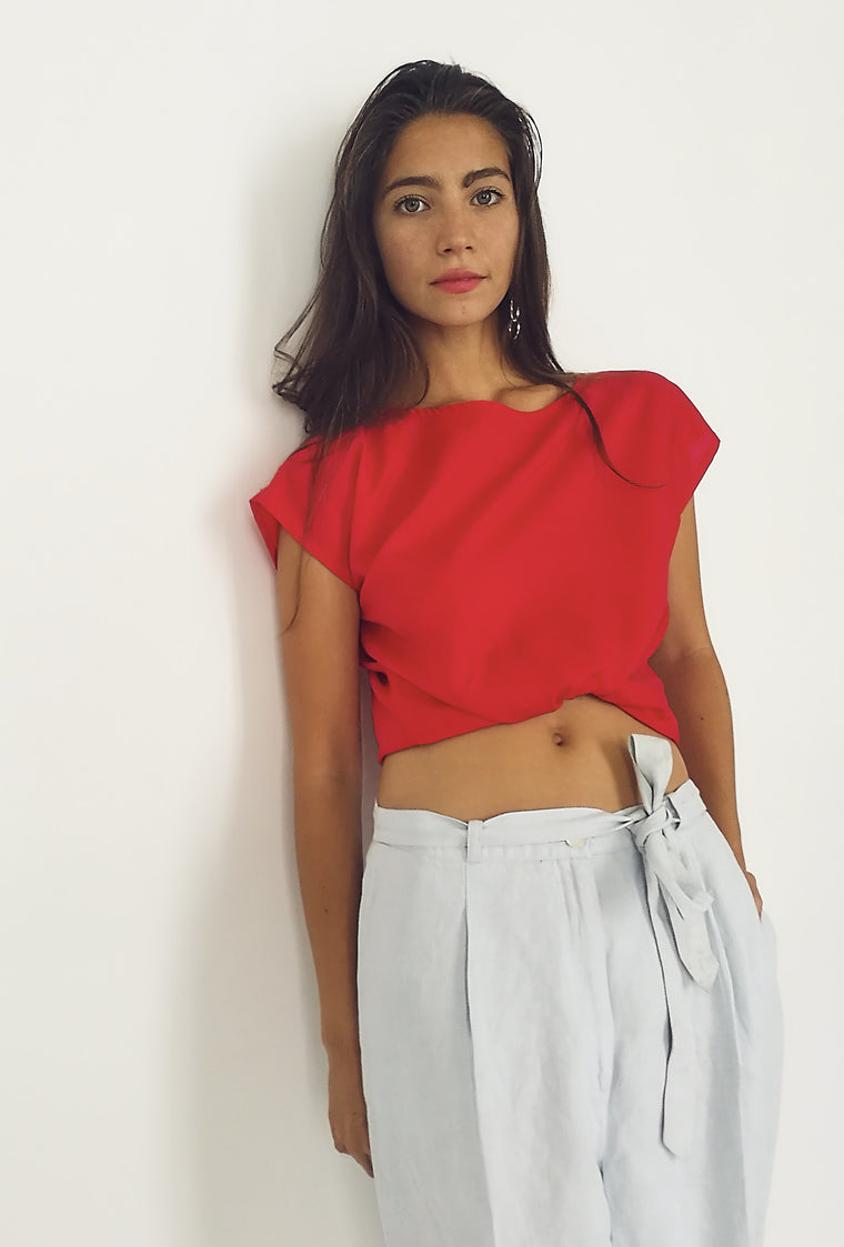 90's Boxy Red Blouse