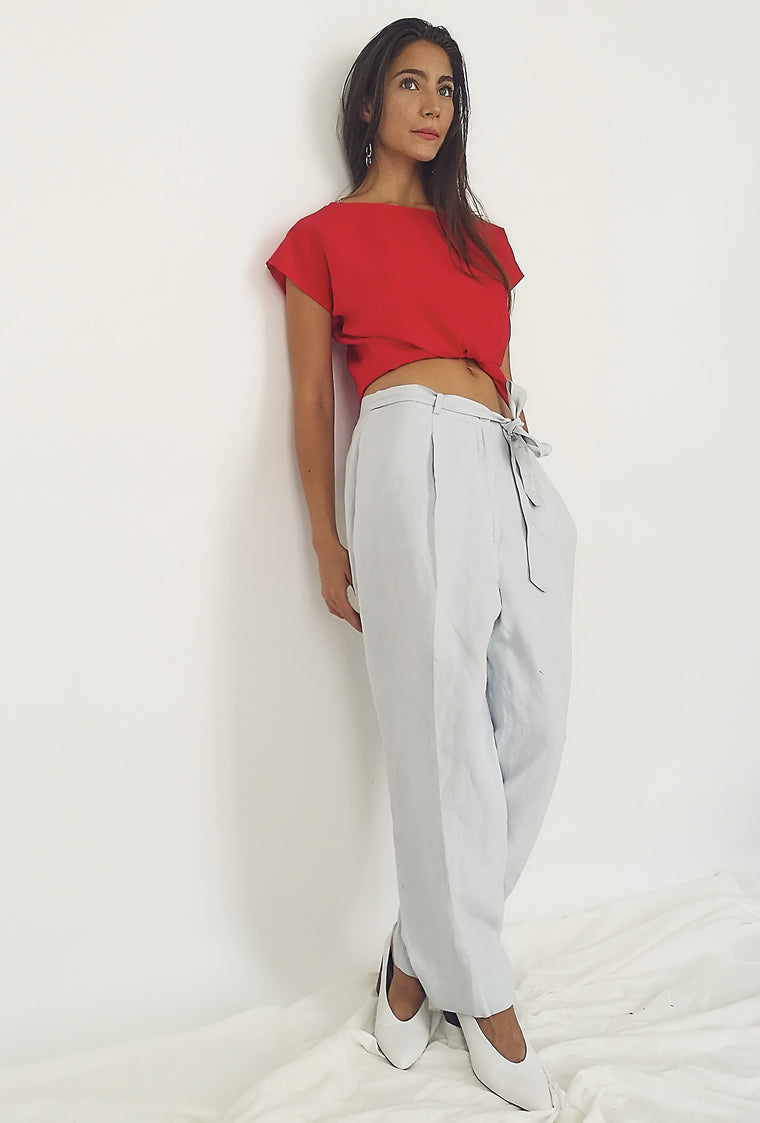 Pale Blue Linen Wide Leg Trousers