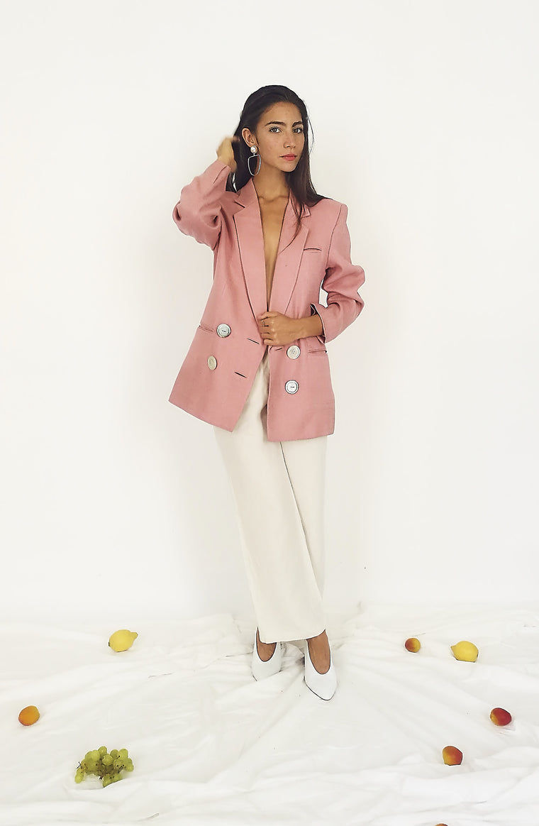 Blush Double Breasted Linen Blazer