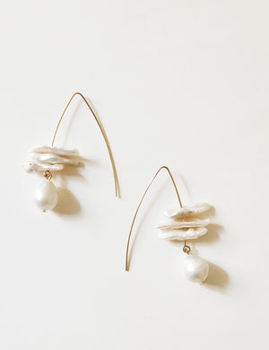 Fresh Water Pearl Angular Earrings
